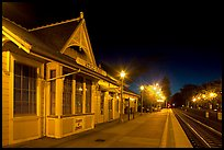 Train station (oldest in California) at night. Menlo Park,  California, USA (color)
