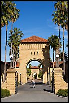 West Entrance to the Main Quad, late afternoon. Stanford University, California, USA (color)
