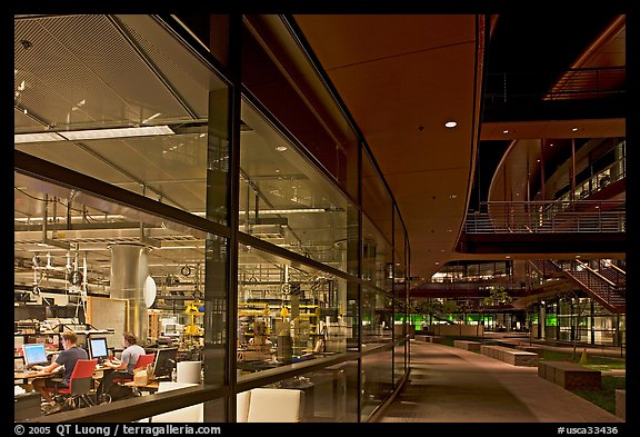 Laboratories in the James Clark Center at night. Stanford University, California, USA (color)