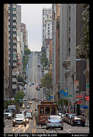 Cable-car in steep California Avenue. San Francisco, California, USA (color)
