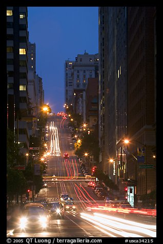 Steep street and lights at dusk. San Francisco, California, USA (color)