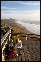 Enjoying sunset from the observation platform at Fort Funston. San Francisco, California, USA (color)