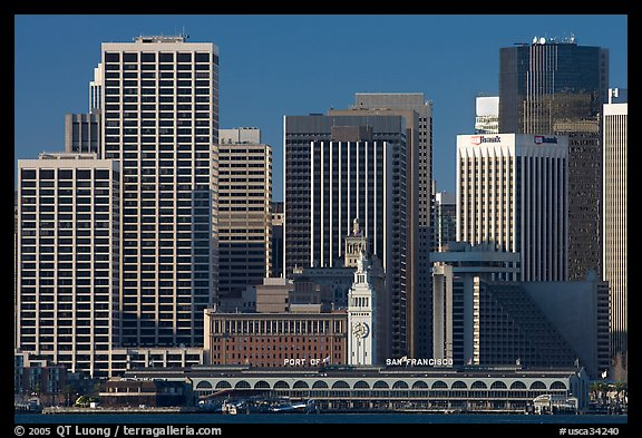 Skyline and Ferry Building building. San Francisco, California, USA (color)