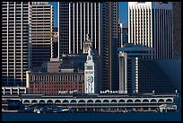 Embarcadero and port of San Francisco building seen from Treasure Island, early morning. San Francisco, California, USA (color)
