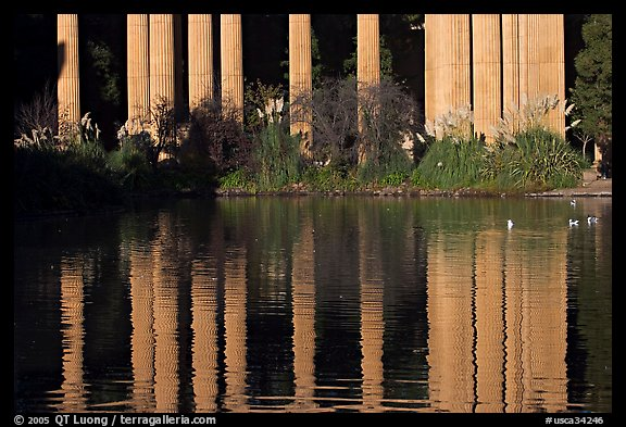 Reflection of colonade, Palace of Fine Arts, morning. San Francisco, California, USA (color)
