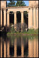 Colons and reflection, Palace of Fine Arts, morning. San Francisco, California, USA