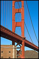 Fort Point with person on roof and Golden Gate Bridge. San Francisco, California, USA