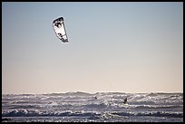 Kitesurfer in powerful waves, afternoon. San Francisco, California, USA (color)