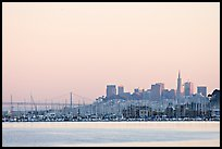 San Francisco Skyline seen from Sausalito with houseboats in background. San Francisco, California, USA ( color)