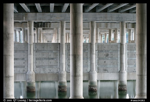 Underneath highway 101 bridge near Seminary Drive, Sausalito. California, USA (color)