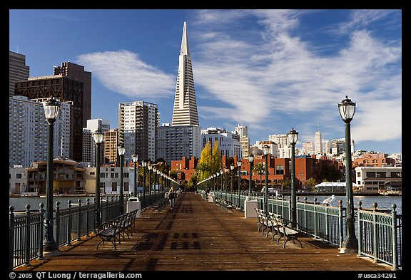 Pier 7 and Transamerica Pyramid, morning. San Francisco, California, USA (color)