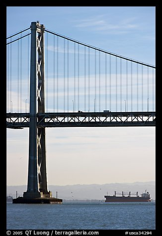 Bay Bridge and tanker,  morning. San Francisco, California, USA (color)