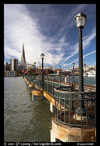 Pier 7 and city skyline. San Francisco, California, USA (color)
