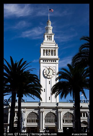 Clock tower of the Ferry building, modeled after the  Seville Cathedral. San Francisco, California, USA (color)