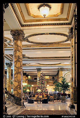 Opulent lobby of the Fairmont Hotel. San Francisco, California, USA (color)