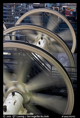 Wheels of cable winding machine. San Francisco, California, USA (color)