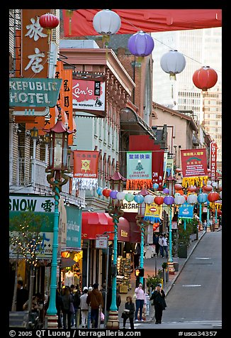 Grant Street, the most commercial street of Chinatown. San Francisco, California, USA (color)