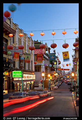 Grant Street at dusk,  Chinatown. San Francisco, California, USA
