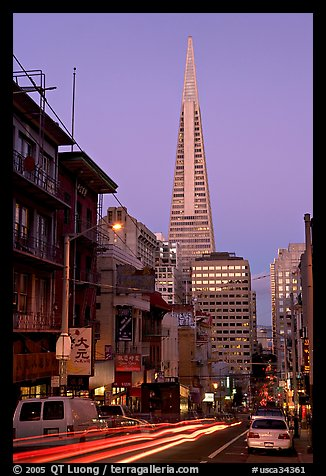 Chinatown street and Transamerica Pyramid, dusk. San Francisco, California, USA (color)