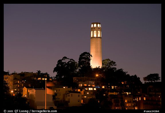 Coit Tower and Telegraph Hill at night. San Francisco, California, USA (color)