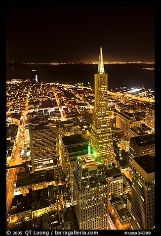 Transamerica Pyramid and Coit Tower, aerial view at night. San Francisco, California, USA