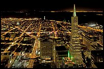 City lights with Transamerica Pyramid. San Francisco, California, USA (color)