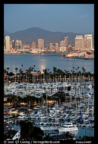 Marina, Shelter Island,  and skyline at dusk. San Diego, California, USA (color)