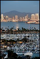 Marina, Shelter Island,  and skyline at dusk. San Diego, California, USA