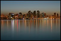 Skyline from Harbor Island, dawn. San Diego, California, USA (color)