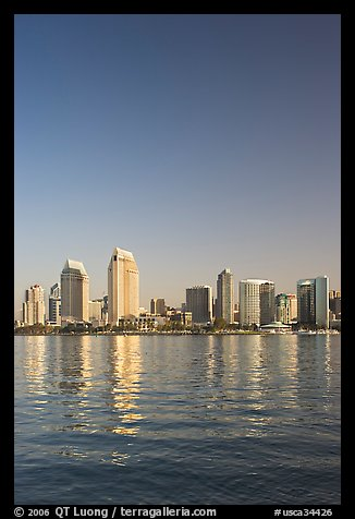 Skyline from across the harbor,  Coronado. San Diego, California, USA (color)