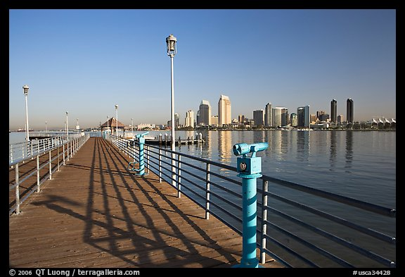 Binoculars, pier, and skyline, Coronado. San Diego, California, USA (color)