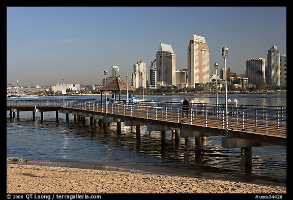 Beach, pier, and skyline, Coronado. San Diego, California, USA (color)