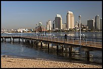 Beach, pier, and skyline, Coronado. San Diego, California, USA ( color)