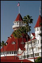 Towers and red roof of Hotel Del Coronado. San Diego, California, USA (color)