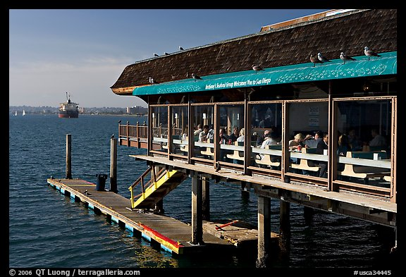Restaurant at the edge of harbor. San Diego, California, USA (color)