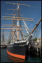 Star of India square-rigged ship, Maritime Museum. San Diego, California, USA (color)