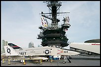 Navy aircraft and island superstructure, USS Midway. San Diego, California, USA (color)