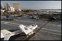 Flight deck and navy aircraft, USS Midway aircraft carrier. San Diego, California, USA ( color)