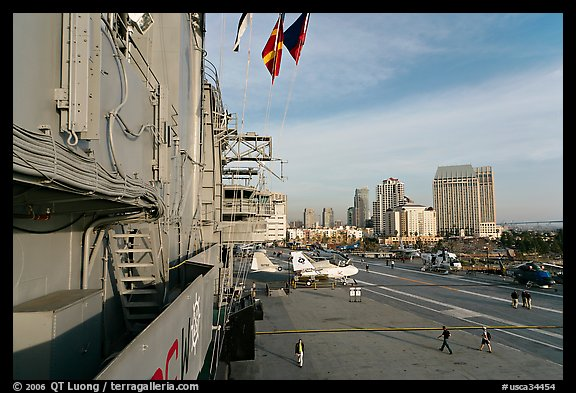 Flight deck and San Diego skyline seen from the USS Midway. San Diego, California, USA (color)