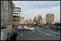 Flight control tower, flight deck, skyline, San Diego Aircraft  carrier museum. San Diego, California, USA (color)