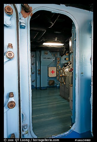Bridge seen from a door, USS Midway aircraft carrier. San Diego, California, USA (color)