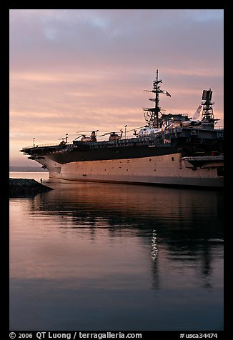 USS Midway, the longest serving aircraft carrier. San Diego, California, USA (color)