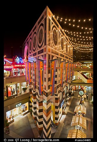 Palazzo in Horton Plaza at night. San Diego, California, USA (color)