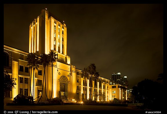 County Administration Center in Art Deco style at night. San Diego, California, USA (color)