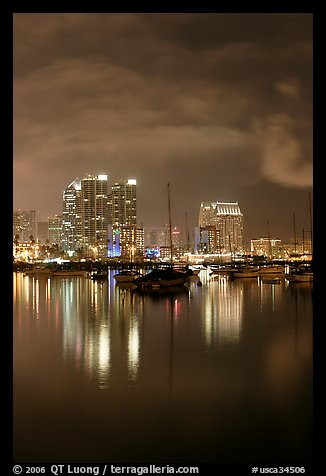 Yachts and skyline from Harbor Drive, at night. San Diego, California, USA (color)