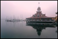 Boathouse and harbor in fog, sunrise, Coronado. San Diego, California, USA ( color)