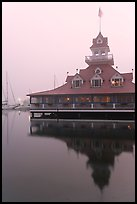 Boathouse restaurant in fog at sunrise, Coronado. San Diego, California, USA (color)