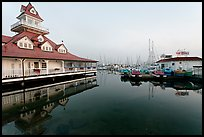 Period and modern boathouses, early morning, Coronado. San Diego, California, USA ( color)