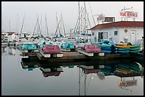 Boathouse and boats for rent, Coronado. San Diego, California, USA (color)