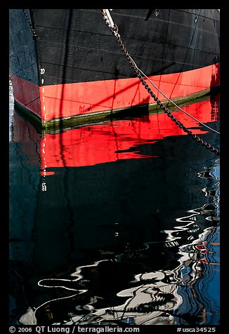 Hull and reflection, Star of India, Maritime Museum. San Diego, California, USA (color)
